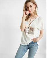 Express deep v-neck lace-up wild heart graphic tee