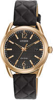 Citizen Drive from Eco-Drive Women's Black Quilted Leather Strap Watch 34mm FE6083-13E