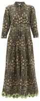 Juliet Dunn Floral-print Metallic-trim Cotton Shirt Dress - Womens - Green Multi