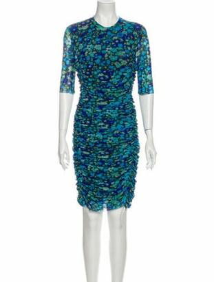 Ganni Printed Knee-Length Dress Blue