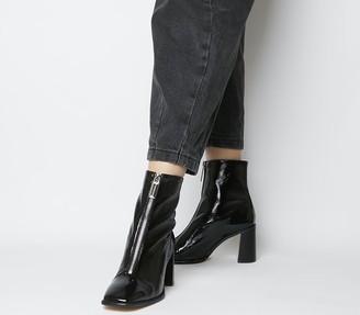 Office Awakening Front Zip Block Boots Black Patent Leather