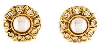 Chanel Faux Pearl & Crystal Earrings