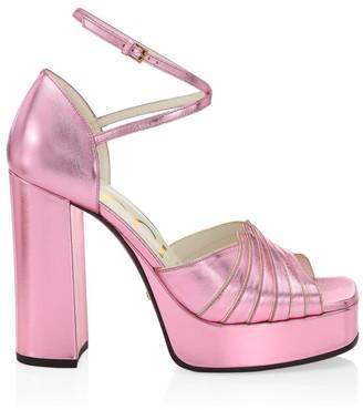 Gucci Leather Platform Sandals