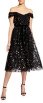 Marchesa Off-the-Shoulder Flocked Glitter Tulle Midi Dress