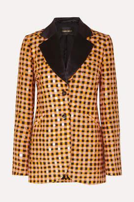 Stine Goya Net Sustain Florence Sequin-embellished Gingham Organic Hemp And Silk-blend Blazer - Orange