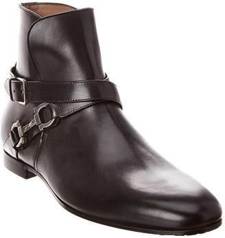 Salvatore Ferragamo Twist Gancini Leather Ankle Boot