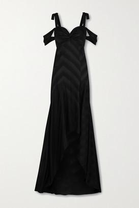 Silvia Tcherassi Sotavento Cold-shoulder Cutout Printed Satin Gown - Black