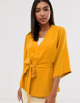 Minimum waist tie kimono-Yellow