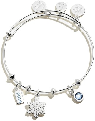 Alex and Ani Snowflake Trio Charm Expandable Wire Bangle Bracelet