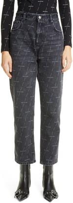 Balenciaga Logo Print High Waist Crop Straight Leg Jeans