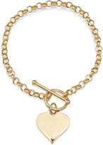 JCPenney FINE JEWELRY 14K Gold Over Sterling Silver Heart Toggle Link Bracelet