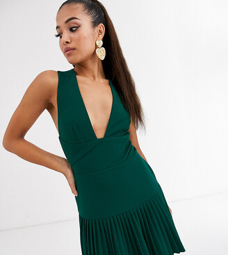 Asos DESIGN Petite plunge cross back pleated mini skater dress