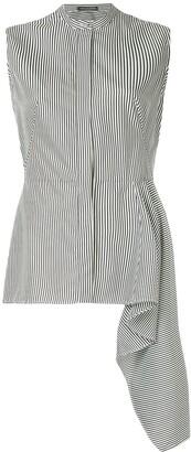 Alexander McQueen Sleeveless Peplum Striped Shirt