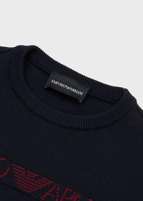 Emporio Armani Virgin Wool Blend Sweater With Jacquard Logo