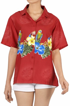 LA LEELA Women's Hawaiian Shirt Blouse Top Short Sleeve V Neck Button up Work Beach Party Collar Office Aloha S-UK Size:14-18 Blood Red_X61