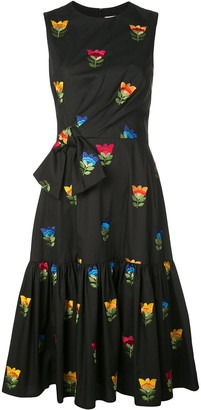 Carolina Herrera Floral Embroidered Bow Waist Dress