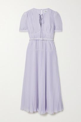 Self-Portrait Belted Pleated Chiffon Midi Dress - Lilac
