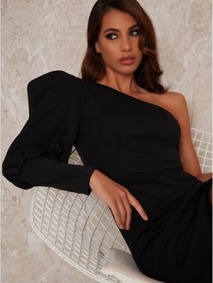 Chi Chi London Curve Finola One Shoulder Bodycon Mini Dress - Black