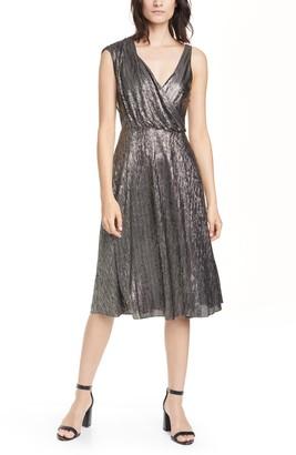 Alice + Olivia Roxy Metallic Drape Front Sleeveless Midi Dress