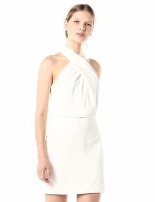 Halston Women's Sleeveless Wrap Neck Fitted Dress