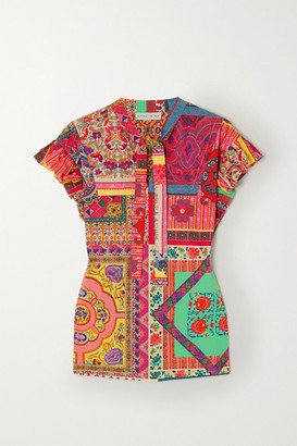 Etro Tie-neck Printed Cotton-poplin Top - Red
