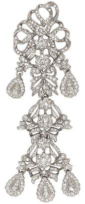 Kenneth Jay Lane Antique Silver Crystal Drop Pin