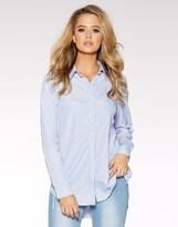 Quiz Pin Stripe Cotton Pearl Detail Shirt