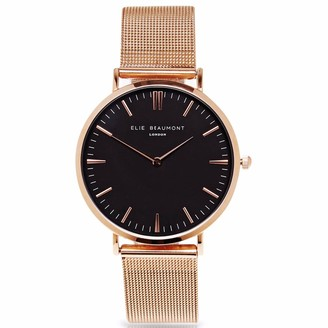 Elie Beaumont Oxford Large Rosegold Black Dial Mesh