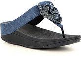 FitFlop Florrie Denim Ruffle Detail Slip-On Toe Thong Sandals