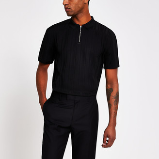 River Island Black ribbed half zip knitted polo top