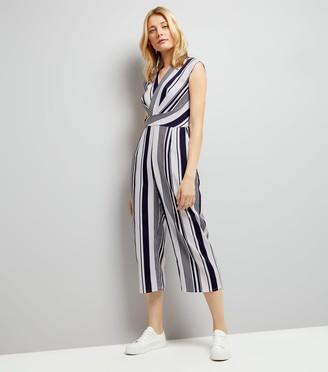New Look AX Paris Stripe Wrap Front Jumpsuit