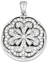goldia Sterling Synthetic Cz Circle W/ Flower Design Locket Pendant