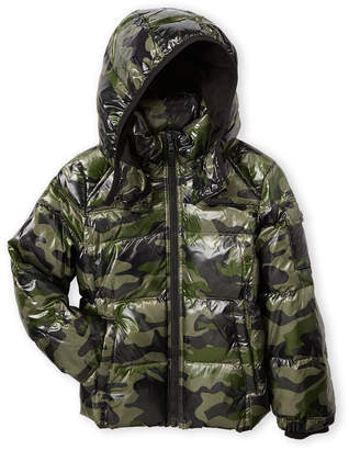 S13 Boys 8-20) Green Camouflage Downhill Full-Zip Down Jacket