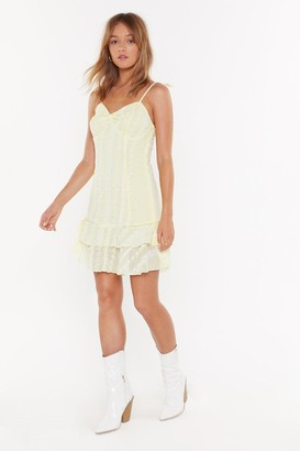 Nasty Gal Womens Lace Do This Again Sometime Ruffle Mini Dress - Lemon