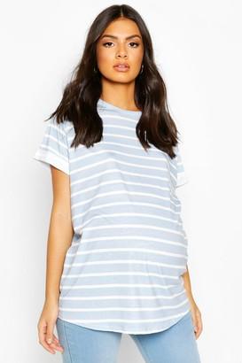 boohoo Maternity Short Sleeve Stripe T-Shirt