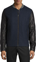 Vince Quilted Jacket with Leather Sleeves, Coastal Blue