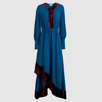 ZEUS + DIONE Blue Theodora Velvet-Trimmed Silk Ankle-Length Dress Size FR 38