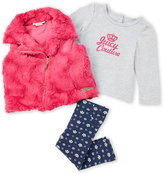 Juicy Couture Infant Girls) 3-Piece Pink Faux Fur Vest & Leggings Set