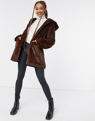Morgan faux fur coat in brown