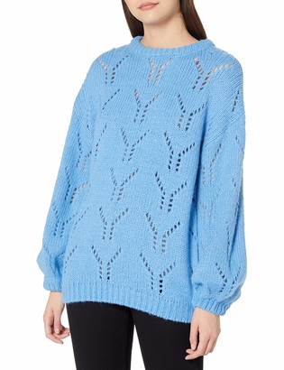 J.o.a. Women's Balloon Sleeve Pointelle Sweater