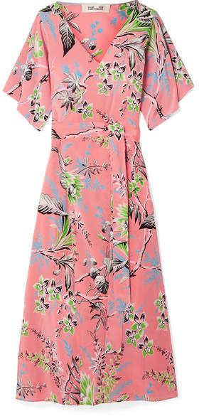 Diane von Furstenberg Floral-print Silk Crepe De Chine Wrap Dress - Pink