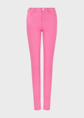 Emporio Armani J20 Garment-Dyed, Stretch-Satin, Super-Skinny Trousers
