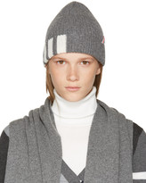 Thom Browne Grey Rib Cashmere Four Bar Beanie