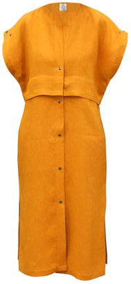 Cleo Prickett East Meets West Dress In Saffron 100% Irish Linen