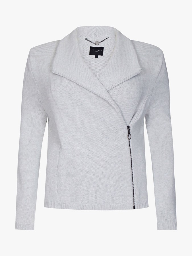 Live Unlimited Curve Knitted Asymmetric Zip Front Jacket