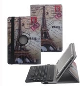 "Tsmine 10"" Octa Core Bluetooth Keyboard Rotating Case - Universal Detachable Wireless keyboard [QWERTY] w/ 360 Degree Case Stand Cover [NOT include Tablet], Eiffel Tower / Black"