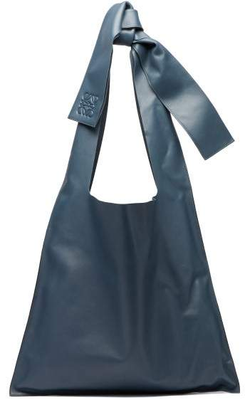5bc08b196df Bow Oversized Nappa Leather Tote Bag - Womens - Blue