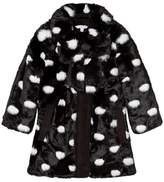 Little Marc Jacobs Black and White Spot Faux Fur Bow Coat Mini Me