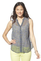 Mossimo Juniors Sleeveless Button Down Chiffon Top - Assorted Colors