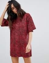 Motel Oversized T-Shirt Dress In Red Leopard